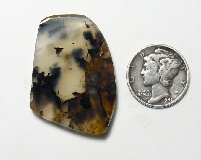 Brazilian dendritic agate preformed rough slab, 23 x 33 x 4 mm, natural, black dendrites (rs32515)