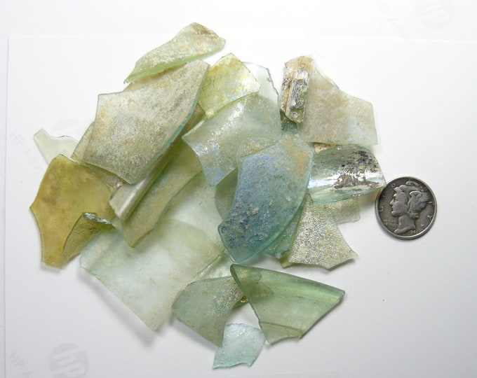 Ancient Roman Glass Shards (34.5 g) from ancient Hebron Roman glass factories, over 2000 years old  (g5411)