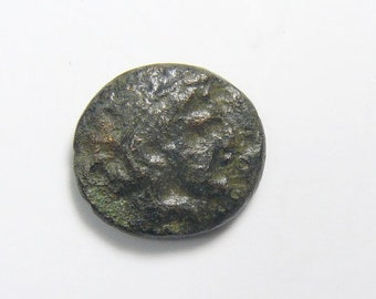 Apollo and Relay race Torch ancient bronze coin, Macedonia. Amphipolis, 357 BC, A-M-(Phi)-I around race torch  (c61211)