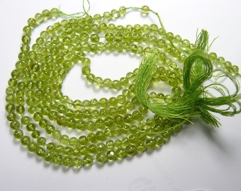 """Green Peridot 4 mm round beads, 3 12"""" strands,  Natural sparkling beads. (b61713)"""