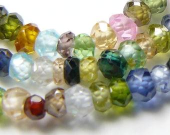 "Sapphire beads, 13"" multi colored strand, beautiful 2.5-3.2 mm multi diamond cut facets, fine jewelry beads, old stock.  AAA grade. (b6811)"