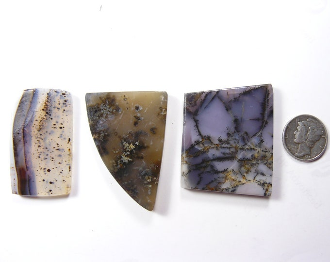3 preformed rough slabs, lot of 3 natural translucent stones, Montana and  Brazilian Agate, Amethyst Sage (rs4912)