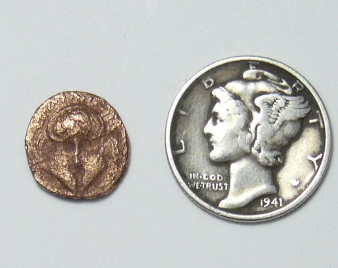 Corinthian Helmet and Meta wheel, Ancient Greek coin, Thrace, Mesembria, 1.9g, 14mm   (c6213)