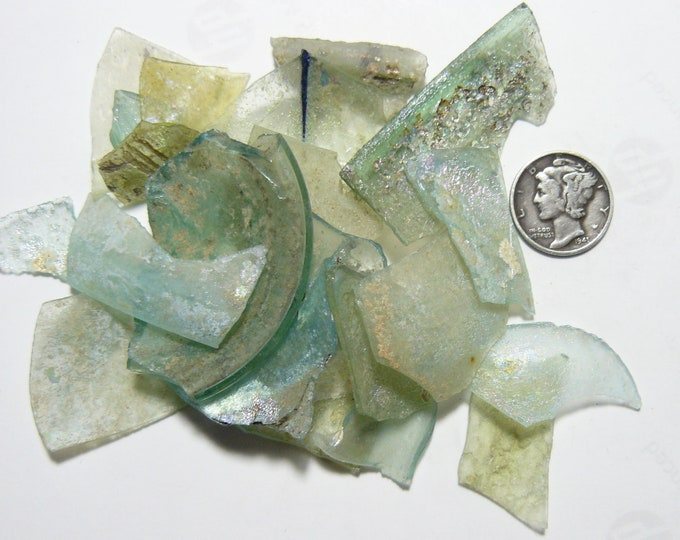 Ancient Roman Glass Shards from ancient Hebron Roman glass factories, over 2000 years old, 32g (s102102)