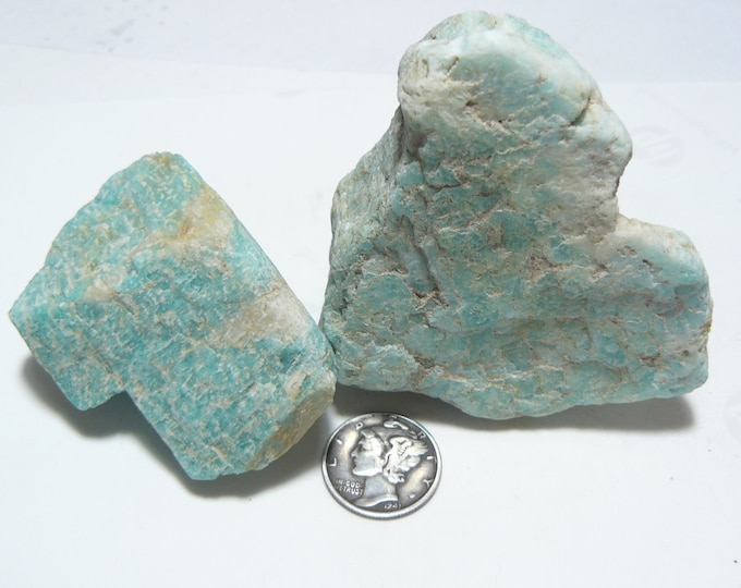 "Amazonite rough chunk, 3""x 2""x 2 1/4"", 6 oz, blue-green feldspar. specimen or cut for cab (rc91803)"