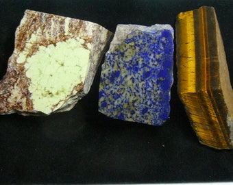 3 small lapidary rough chunks, Lemon (yellow) Chrysoprase, blue and gray Lapis, golden Tigers Eye (rc11111)