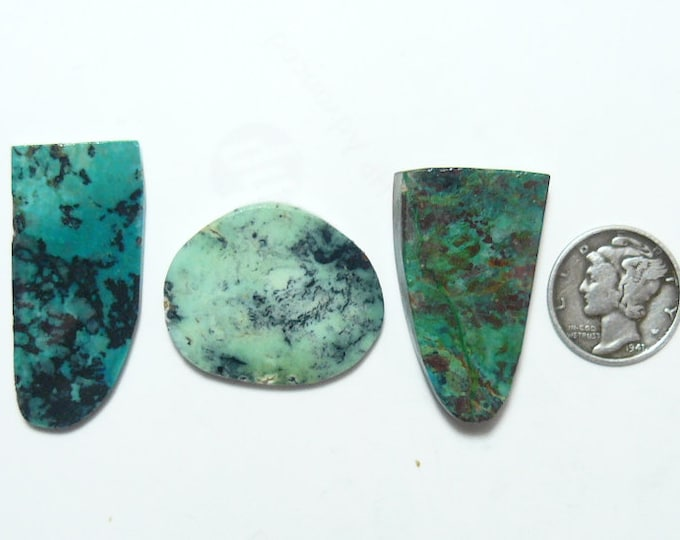 Chrysocolla,  Shattuckite, Variscite preformed rough slabs, lot of 3 slabs , green and brown colors (rs12111)