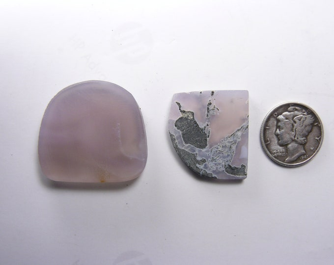 2 East Java Purple Chalcedony preformed rough slabs,  rare natural iridescent, black basalt (rs41601)