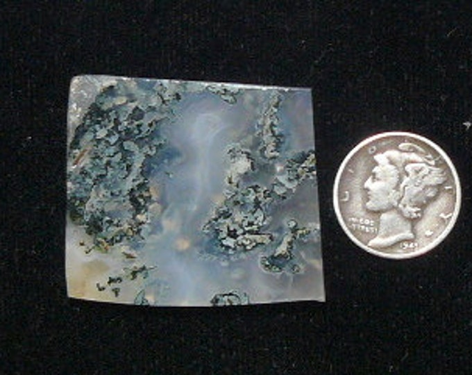 Green Moss agate preformed rough slab, 31 x 35 x 4.5 mm, natural translucent stone (rs5202)