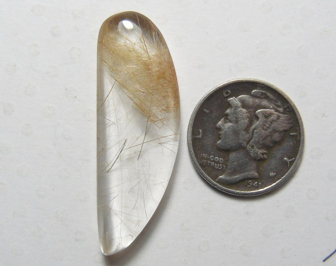 Rutilated Quartz Cabochon, 13 x 37 x 5.5 mm, flat back, natural golden rutiles, translucent (c61903)