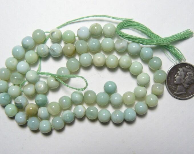 Peruvian Opal beads, 6 mm, mixed green colors, natural, rare, 64 beads (pb61402)