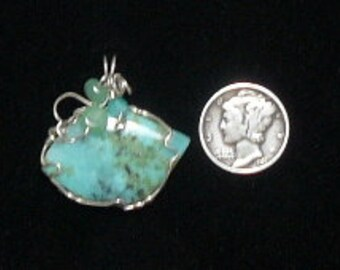 Amazonite and Diopside crystal wire wrapped gemstone cabochon, Argentium silver wire, natural gemstone, polished back (w11363)
