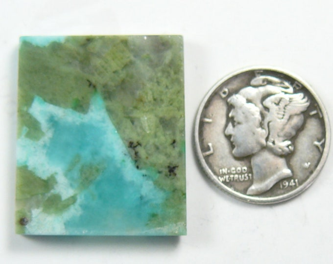 Preformed Amazonite with Diopside rough slab, 21 x 25 x 4 mm,  rare, natural  (rs42013)