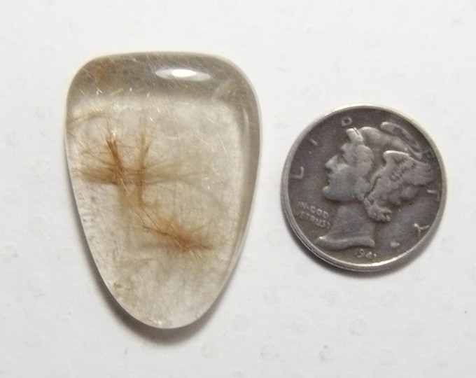 Rutilated Quartz Cabochon, 21 x 29 x 5.5 mm, flat back, natural golden rutiles, translucent (c62101)