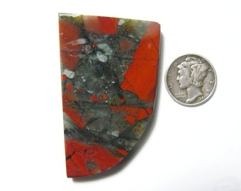 African Bloodstone preformed rough slab, 32 x 53 x 6 mm, translucent, Cherry Orchard agate (rs61511)