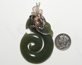 """Carved BC Nephrite Jade pendant, 1 1/8 x 2 1/2"""", wire wrapped (j81106)"""