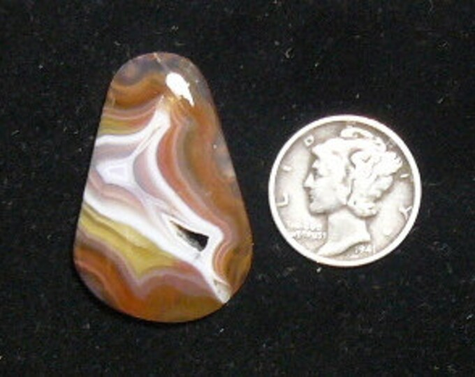 Coyamito Agate Cabochon, 20 x 21 x 4 mm, flat back, natural stone. druzy pocket (c62401)