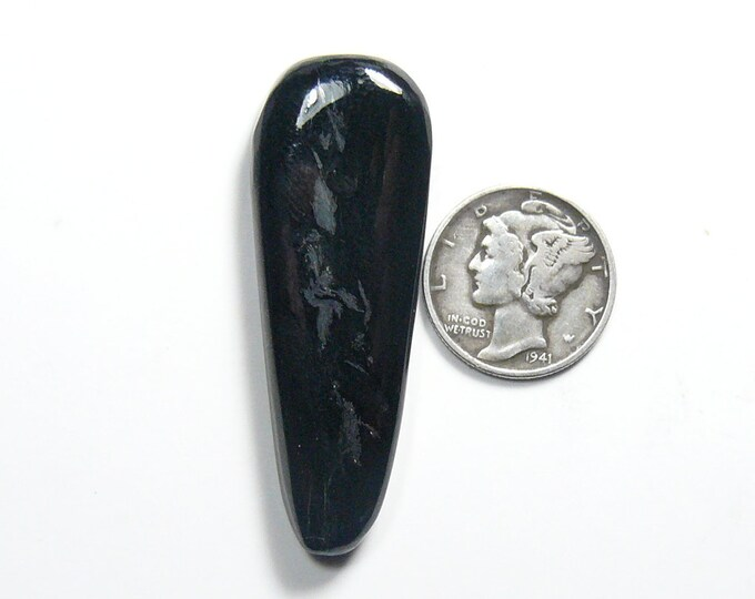 Victorville Black Jade Cabochon, 17 x 45 x 6.2 mm, rare jade magnetite, made in the USA.  (c91506)