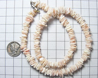 "15"" Heishi pink and white shell necklace, includes 16"" of loose beads, thin ocean shell heishi beads (n3611)"