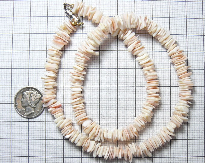 """15"""" Heishi pink and white shell necklace, includes 16"""" of loose beads, thin ocean shell heishi beads (n3611)"""