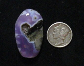 East Java Purple Chalcedony preformed rough slab,  20 x 33 x 8 mm, rare natural with black basalt matrix  (rs122105)