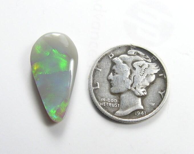 Solid Australian Opal Cabochon,  5.4 ct, natural semi black (medium gray) opal with green flashing color, mirror finish (c71902)