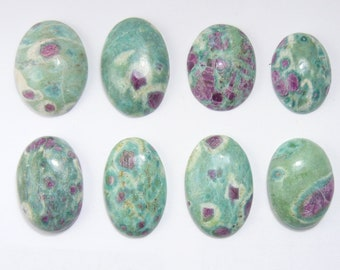 Ruby in Fuchsite cabochons, fluorescent Ruby, natural, from India (c72212)