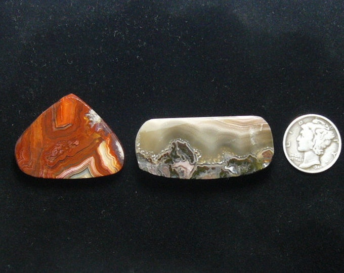 2 preformed rough agate slabs, natural and unique, Crazy Lace agate and unknown thunder egg slice (rs11811)