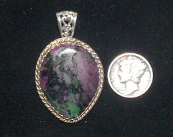 "Ruby Zoisite Pendant, 1 3/4"" x 1 1/8"", hand made SS setting with 14k gold fill twisted wire (j10602)"