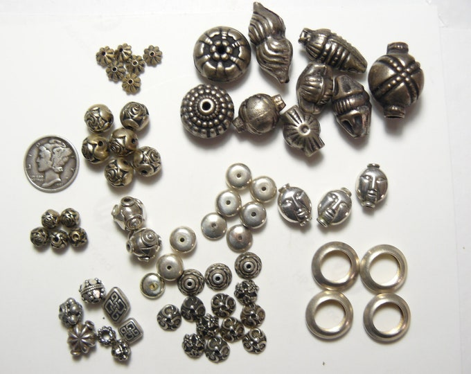 Sterling Silver beads, caps, rings (unused), Bali style antique silver beads (used). (js81108)