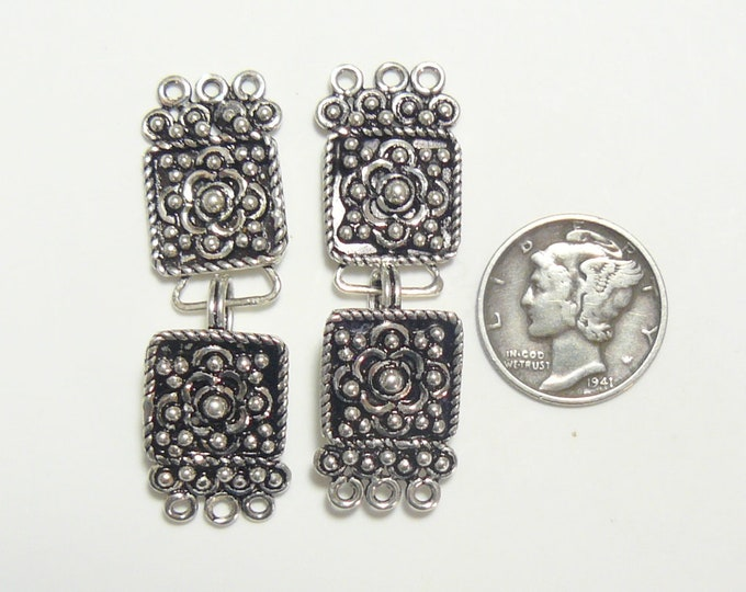2 Sterling Silver eye and hook sets, new never used, fancy 3 wire rings, 22 mm each. (js8903)