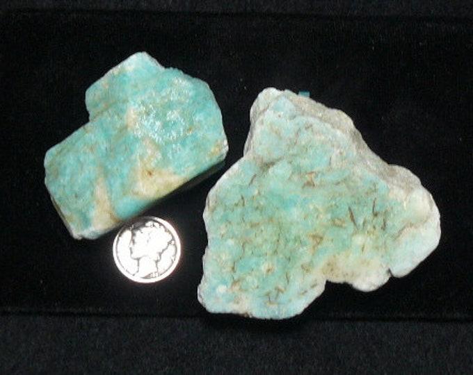 """Amazonite rough chunk, 3""""x 2""""x 2 1/4"""", 6 oz, blue-green feldspar. specimen or cut for cab (rc91803)"""