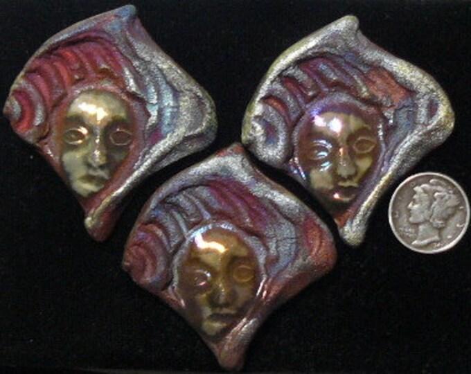 Raku face cabochons for pendants  (racu02)