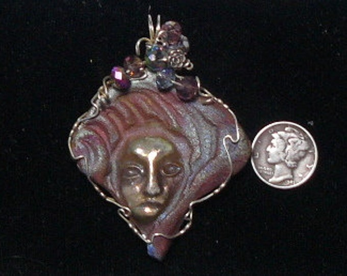 Raku Pendant wire wrapped  in Argentium silver wire (retards tarnishing), ancient Japanese craft (J9102)