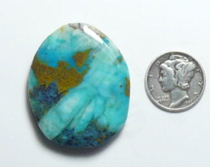 Chrysocolla preformed rough slab, 30 x 36 x 6.5 mm, metallic (maybe copper), Azurite and quartz (rs31213)