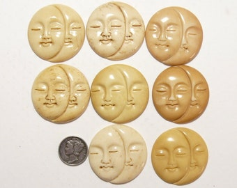 8 Carved tinted bone Sun and Moon Face jewelry supplies 8 available (c71004)