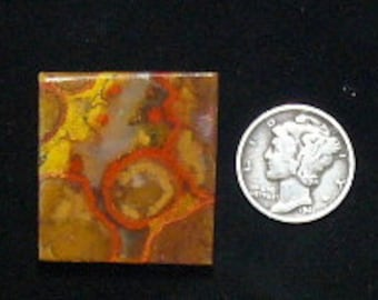 Morgan Hill  preformed  Poppy Jasper rough slab, 31 x 46 x 7 mm, natural, brown yellow and red colors (rs102503)