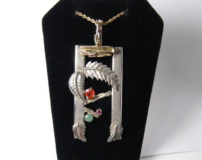 "Designer pendant 14k and SS, 2 1/2""x1"", Spessartite, Ruby, Emerald , handmade (j51901)"