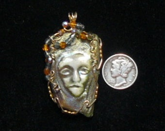 Raku Pendant wire wrapped  in 14kgf wire,  ancient Japanese craft (J92101)