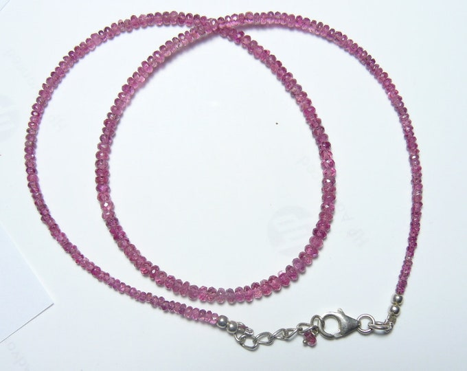 """Pink 2-3 mm Tourmaline natural faceted rondelle beaded necklace,  17"""" to 18"""" adjustable, SS lobster claw, chain & beads (n3911)"""