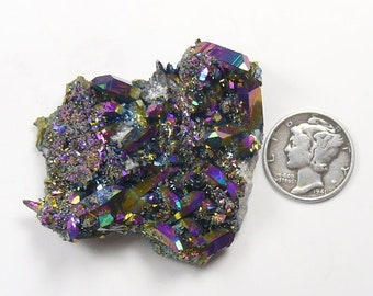 Aurora Azotic large natural Arkansas crystal clusters, Rainbow color, lab technology (aq12812)