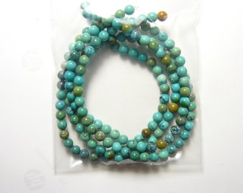"""2 Chrysocolla 15.5"""" natural stone bead strands, 5 mm beads, green, blue, brown. top grade, beautiful polished beads. (rs31914)"""