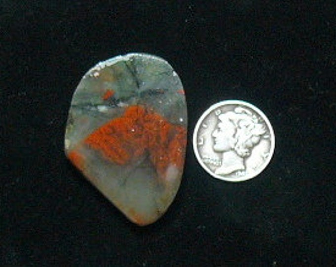 African Bloodstone preformed rough slab, 12 x 21 x 5 mm, translucent, Cherry Orchard agate, large size (rs122905)