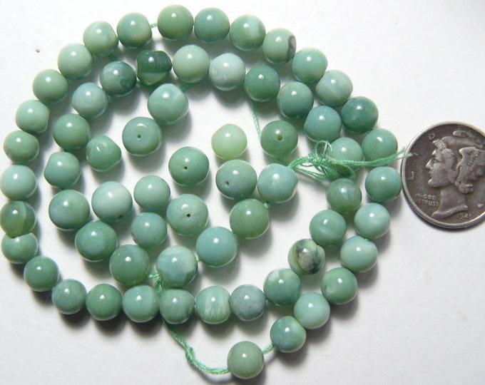 Peruvian Opal beads, 6 mm, mixed green colors, natural, rare, 64 beads (pb61404)