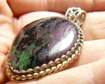 """Ruby Zoisite Pendant, 1 3/4"""" x 1 1/8"""", hand made SS setting with 14k gold fill twisted wire (j10602)"""