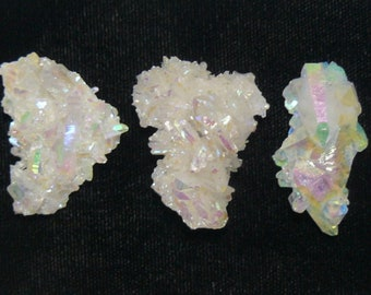 3 small Aurora Azotic natural crystal clusters, Opal color, lab technology (aq9107)
