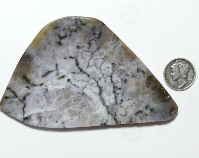 Amethyst Sage prefinished rough slab, 58 x 93 x 5 mm, translucent, black, chalcedony, dendritic (rs12713)