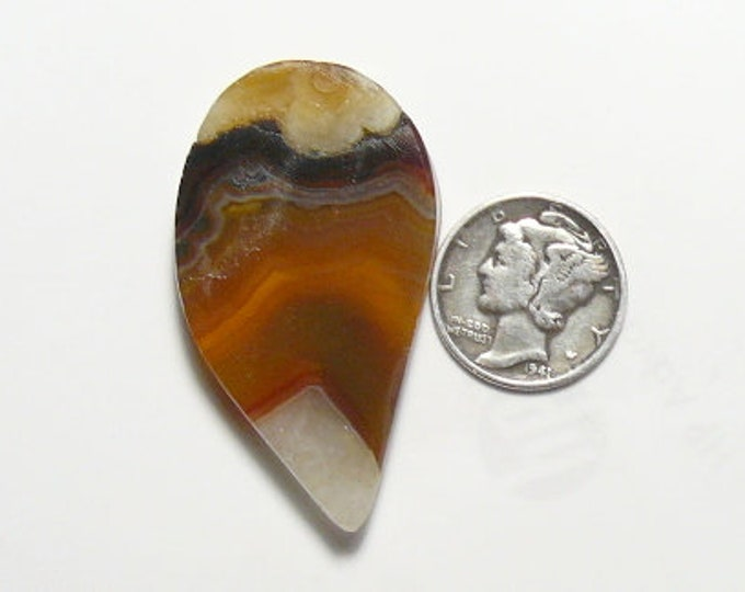 Brazilian Agate prefinished rough, natural, 24 x 42 x 5.5 mm, golden translucent picture (rs31611)