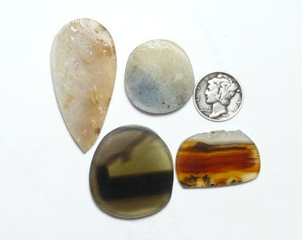 Prefinished rough slabs, lot of 4, natural picture stones, small unique and rare slabs for cabs or rings (rs12112)