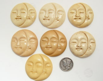 Carved tinted bone Sun and Moon Face jewelry supplies 7 available (c71004)
